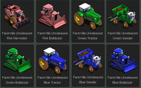 FarmVille Unreleased Yellow, Red, Green, Purple, Pink & Blue Tractor, Seeder, Harvester, Bulldozer