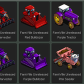 FarmVille Unreleased Yellow, Red, Green, Purple, Pink & Blue Tractor, Seeder, Har