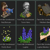 FarmVille Unreleased Paul Bunyan, Town Hero, Western Barn, Firefly Bush, Lupine & Lupine Mastery Sign