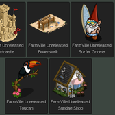 FarmVille Unreleased Beach Theme: Sandcastle, Boardwalk, Surfer Gnome, Sundae Shop & Toucan