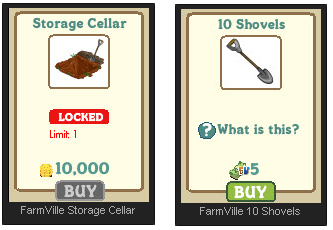 FarmVille Storage Cellage and 10 Shovels