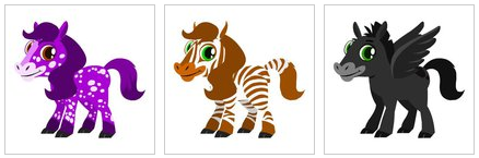 Happy Pets Amethyst Appaloosa, Bronze Zebra, and Jet Black Pegasus