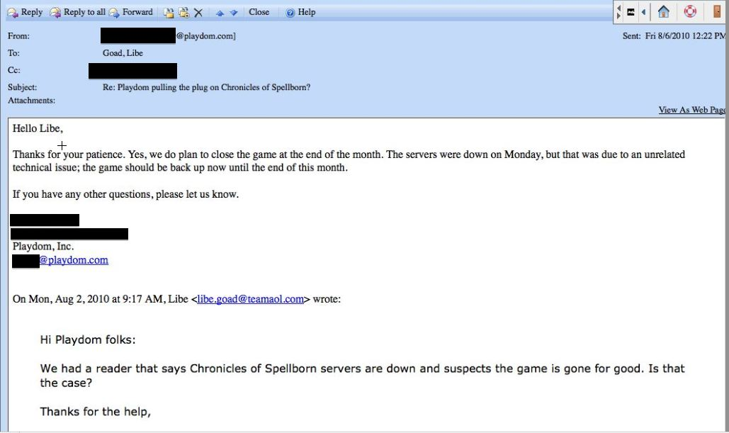 playdom chronicles of spellborn closing email