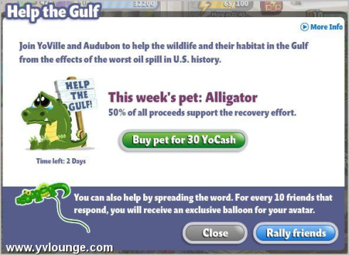 YoVille Audubon Help the Gulf Alligator
