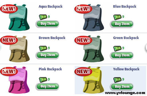 YoVille goes Camping backpacks
