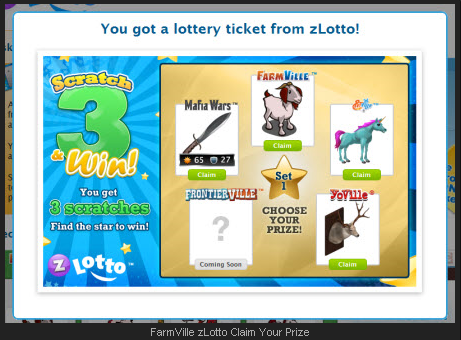FarmVille zLotto Claim Your Prize