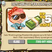 Cafe World offers FrontierVille players 50 free Cafe Cash