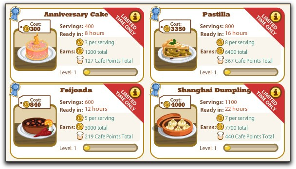 Cafe World One Year Catering Order recipes