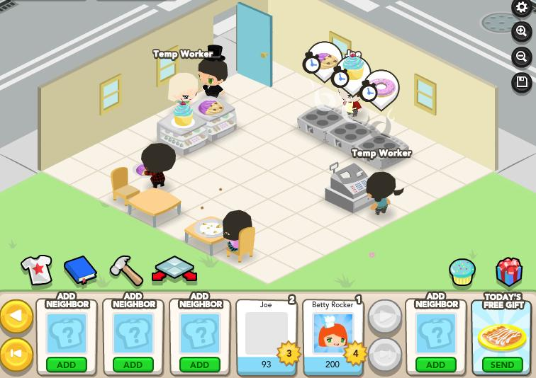 Gameplay from OMGpop's Cupcake Corner.
