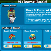 Fanglies welcomes us back with news screen