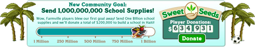 farmville 1 billion haiti school supplies