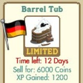 FarmVille LE Germany Decorations: House Bridge, Cruise Boat, Barrel Tub, & Oak Tree