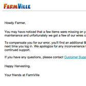 FarmVille compensates 50 Farm Cash to some farmers