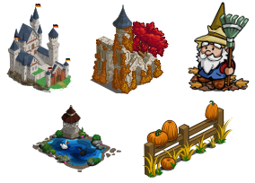 FarmVille German Castle, German Castle Ruins, Fall Fence, Fall Gnome, Swan Lake