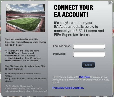 The log-in page for FIFA Superstars FIFA 11 demo link.