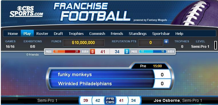 Franchise Football win