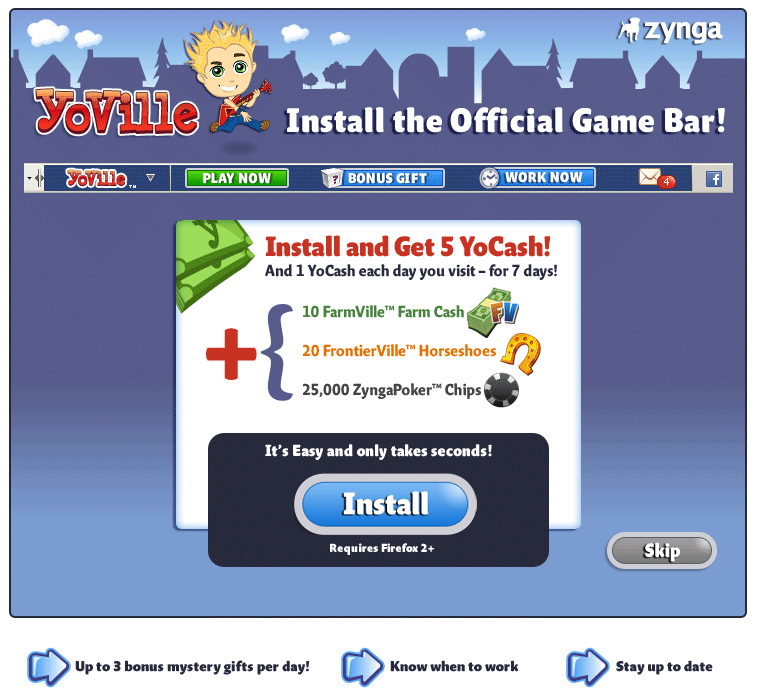 YoVille Game Bar