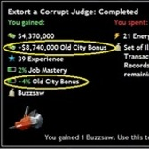 Mafia Wars Old City Bonus grants double mastery on jobs (for some)