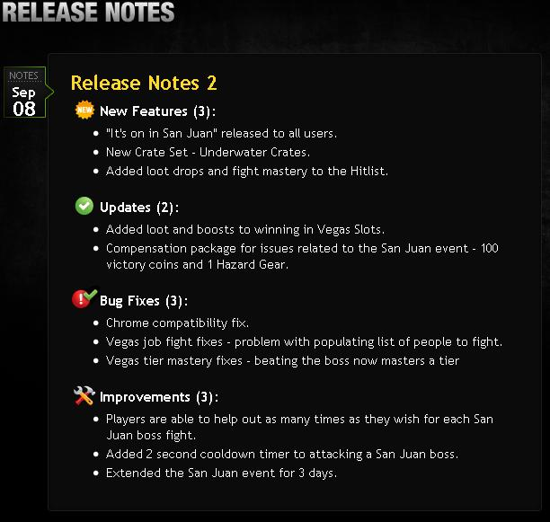 Mafia Wars Release Notes September 8 2010