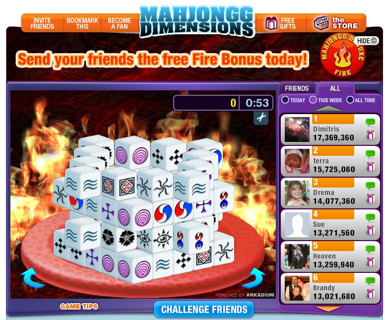 mahjongg dimensions fire level