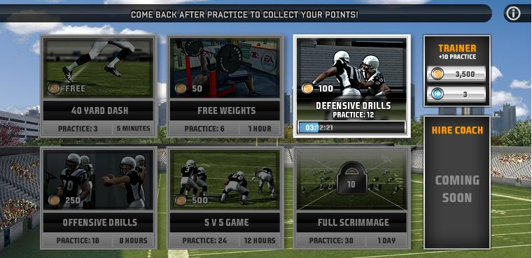 The practices page for Madden NFL Superstars.