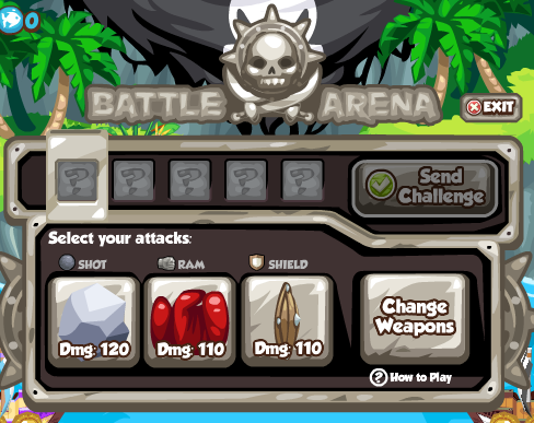 Pirates Ahoy Battle Arena: Select your attacks