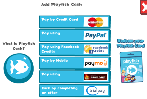 Playfish Add Playfish Cash window