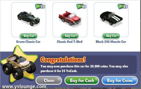YoVille Purchase Car