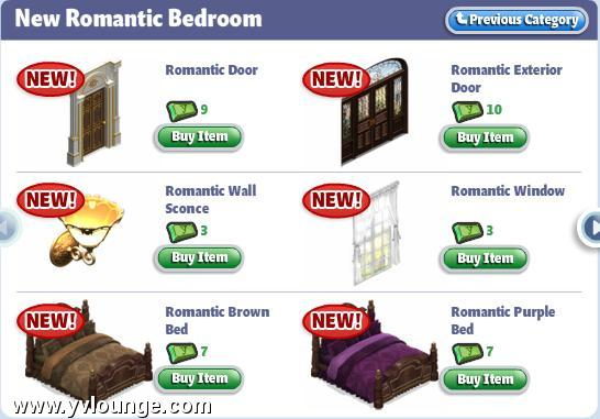 YoVille New Romantic Bedroom Furniture Has Arrived