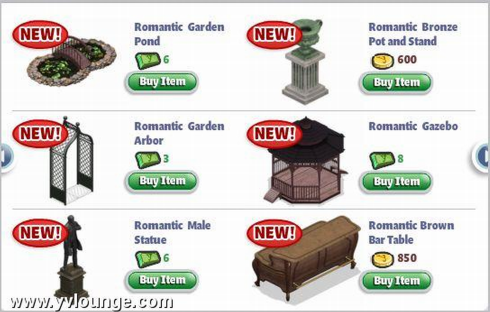 YoVille Romantic Garden items