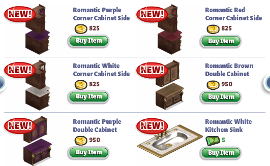 yoville romantic kitchen items