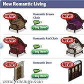 YoVille Romantic Living Room items added in the furniture store