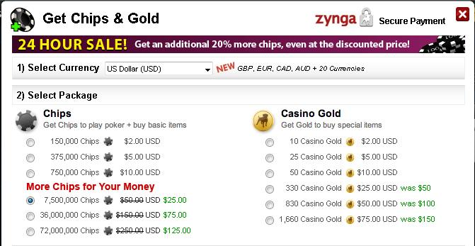 The 24-hour Zynga Poker chip sale