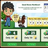 FarmVille free gift promotes Facebook Credits