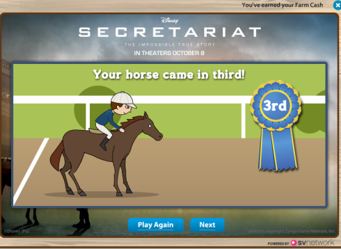 FarmVille Secretariat: Your horse came in third!