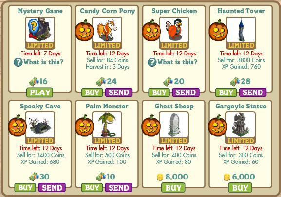 FarmVille Halloween Items