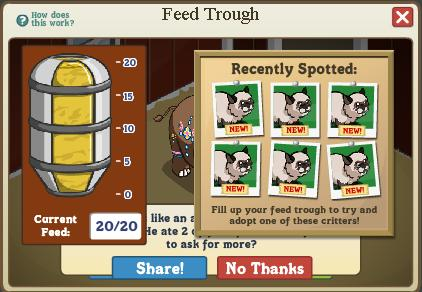 FarmVille Unreleased Feed Trough Menu