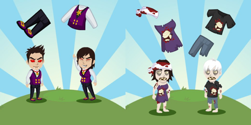 Island Paradise Vampire and Zombie costumes