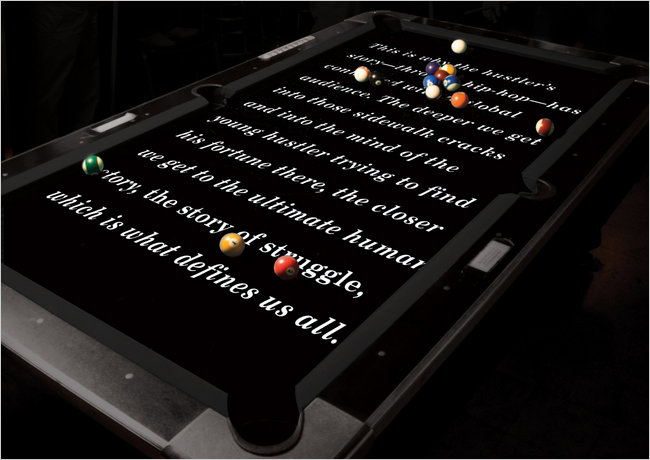 Decoded page appears on a pool table