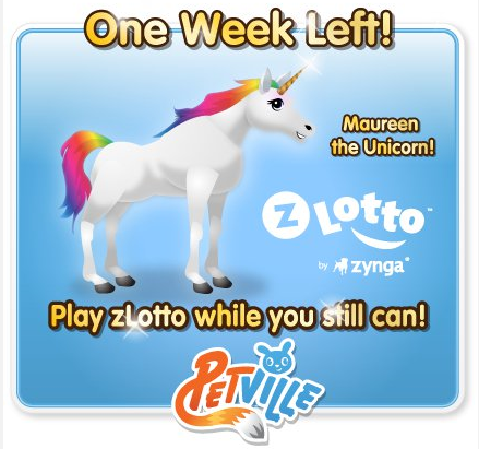 PetVille One Week Left Maureen the Rainbow Unicorn