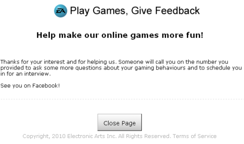 Electronic Arts and Playfish: Play Games, Give Feedback