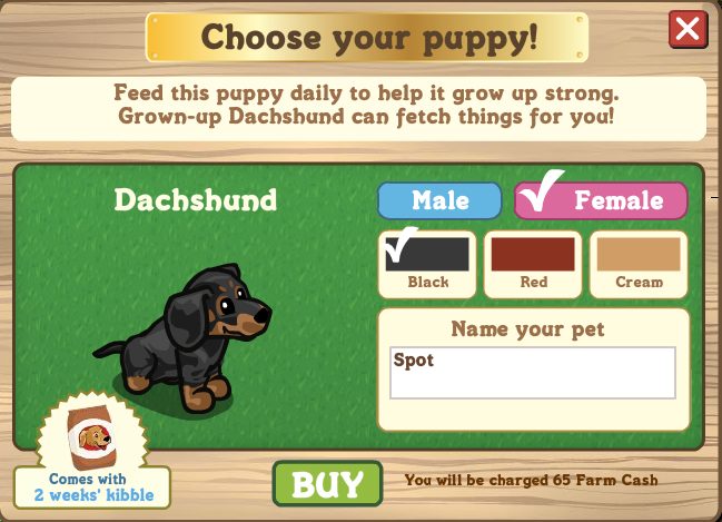 FarmVille dachshund