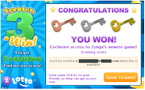 Zynga Lotto All 3 Keys