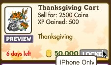 FarmVille Thanksgiving Cart