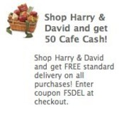 Cafe World: Earn 50 Cafe Cash for Harry &amp; David purchase