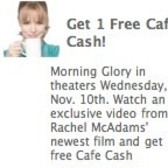 Earn free Cafe Cash for watching movie promo in Cafe World