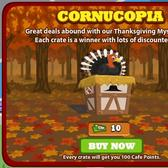 Cafe World Thanksgiving Mystery Crate holds animated items inside