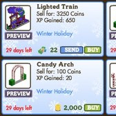 FarmVille Winter Holiday Decorations: Lighted Train, Candy Gate, Arch & Fence