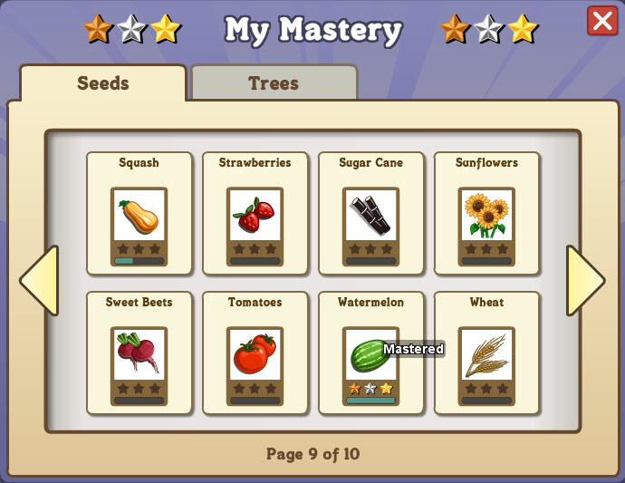 farmville mastery page
