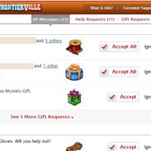 FrontierVille: Zynga Message Center now available for streamlined gift requests